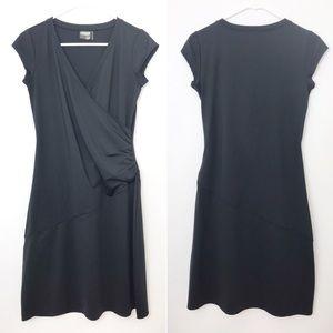 ATHLETA | Nectar Black Athletic Wrap Spandex Dress